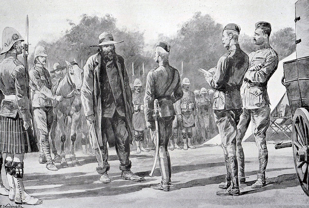 Piet Cronje, Boer Commander, surrenders to Lord Roberts at the Battle of Paardeberg on 27th February 1900 in the Great Boer War: picture by Richard Caton Woodville