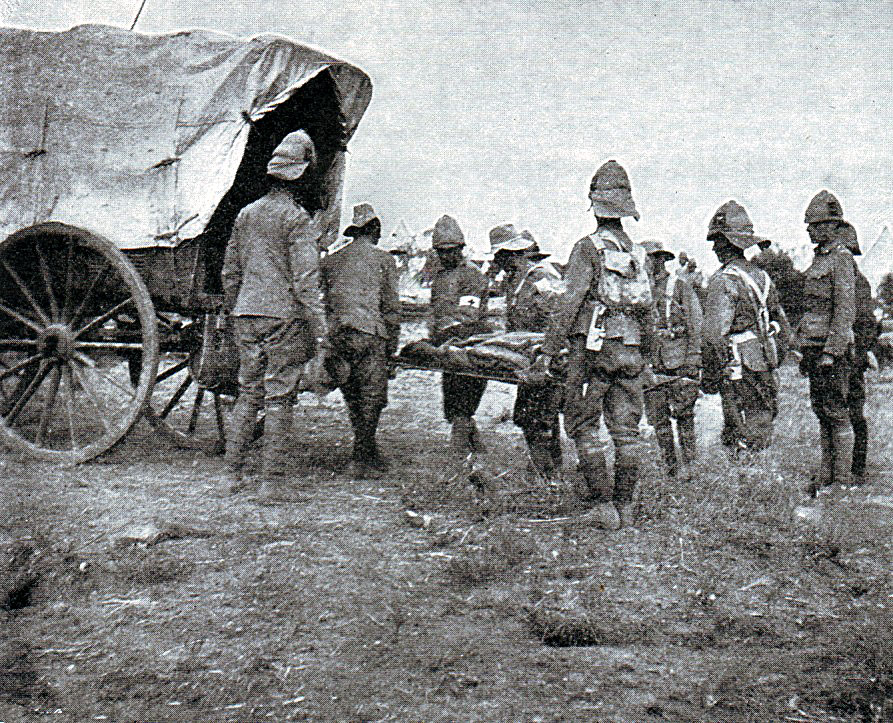 British troops removing the dead from the battlefield after the Battle of Belmont on 23rd November 1899 in the Great Boer War