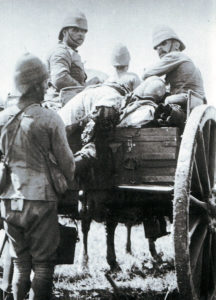 British casualties being removed from the field after the Battle of Ladysmith or Lombard's Kop on 30th October 1899 in the Boer War