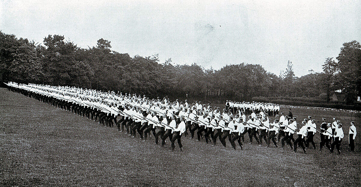 2nd Coldstream Guards at bayonet practice in Britain before leaving for South Africa in 1899: Battle of Graspan on 23rd November 1899 in the Great Boer War