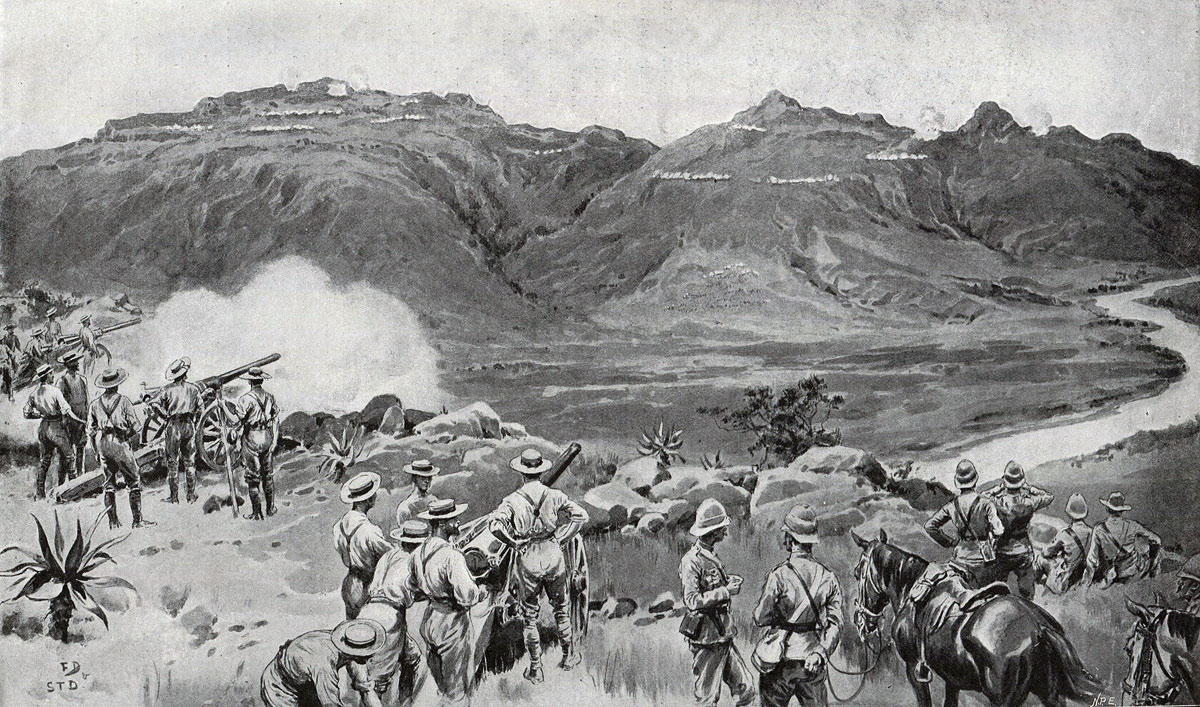 Naval Guns firing across the Tugela River at the Battle of Spion Kop on 24th January 1900 in the Boer War: picture by Frank Dadd