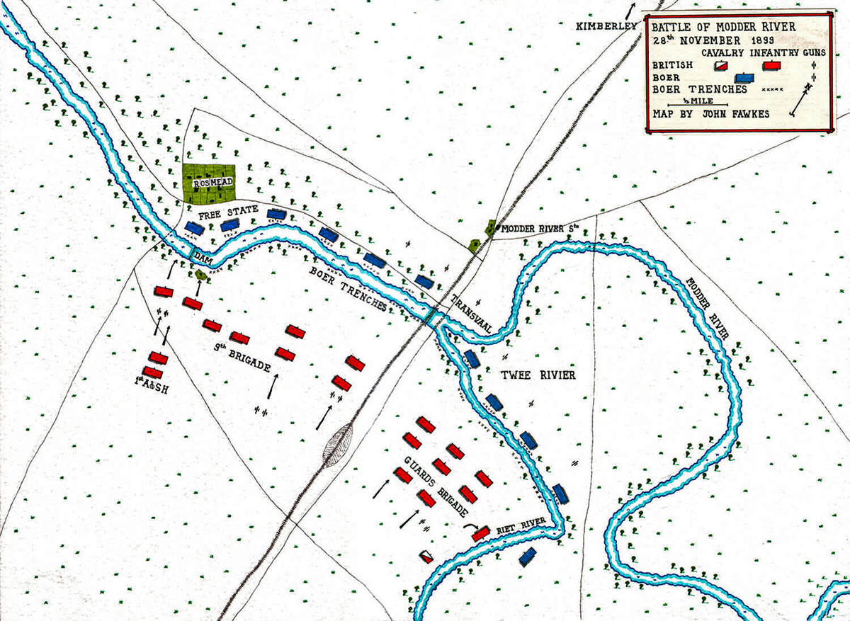 Map of the Battle of Modder River on 28th November 1899 in the Boer Warby John Fawkes