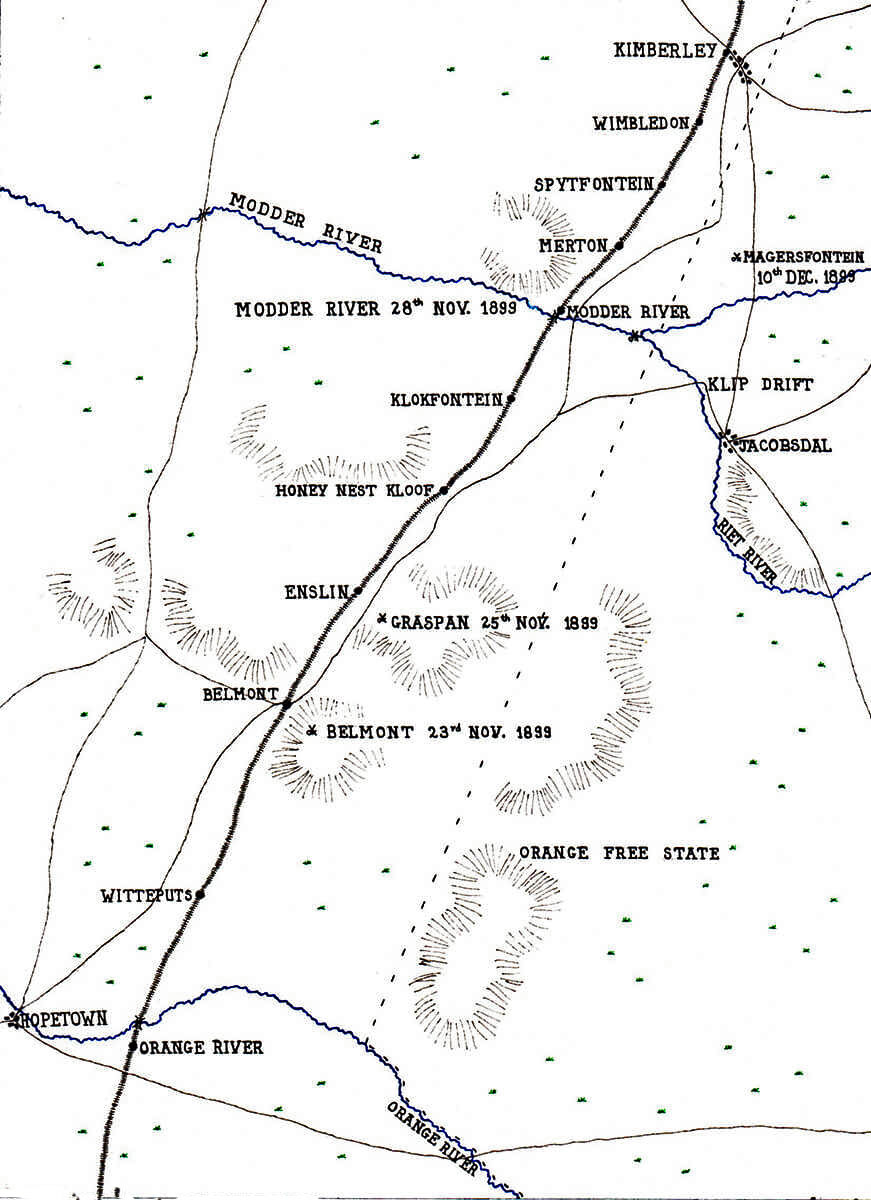 Map showing the area of Lord Methuen's operations from the Orange River to the Battle of Magersfontein on 10th December 1899 in the Boer War: map by John Fawkes