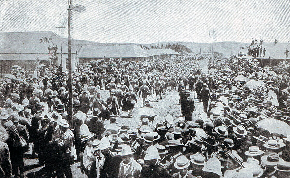 British prisoners from Nicholson's Nek on 30th October 1899 arriving at Pretoria Racecourse in the Boer War