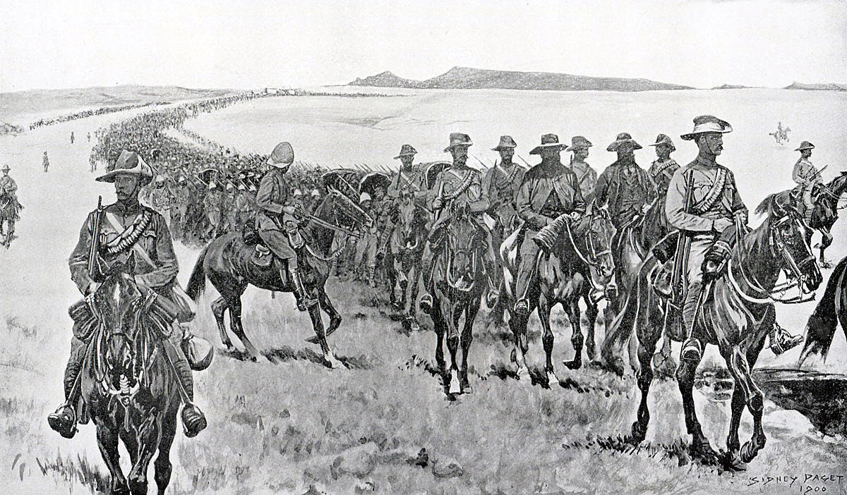 Boer prisoners under escort heading south after the Battle of Paardeberg on 27th February 1900 in the Great Boer War: picture by Sidney Paget
