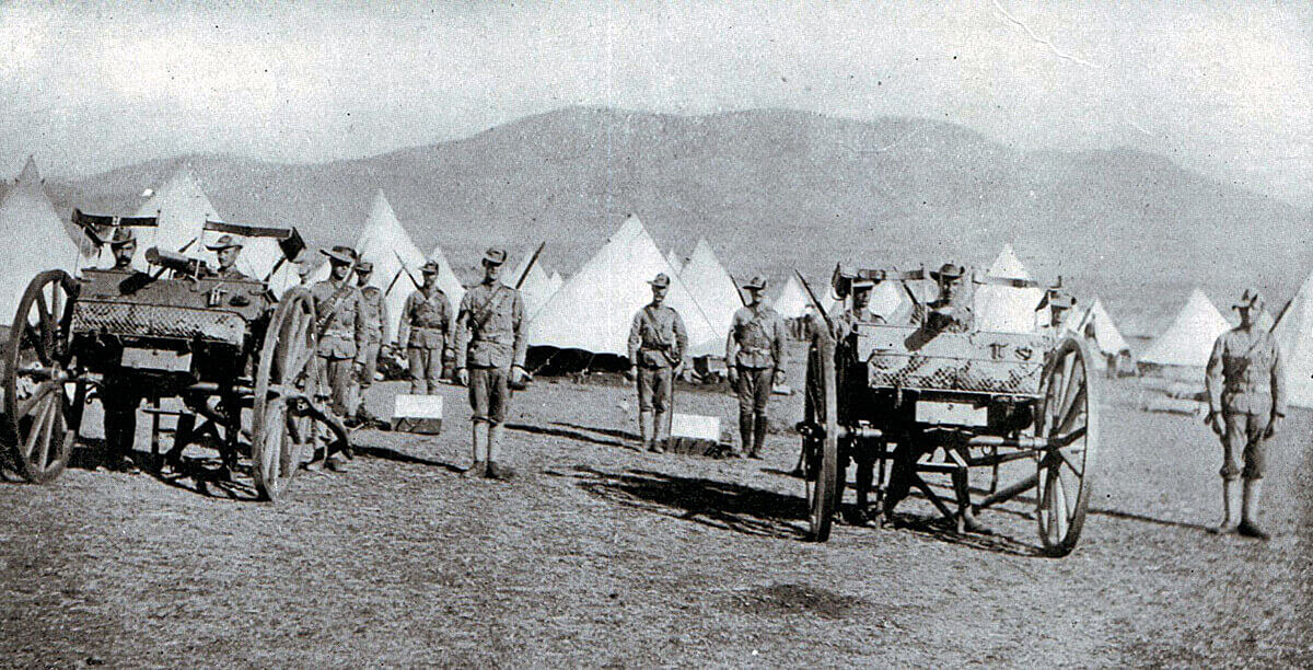 Cape Mounted Rifles with maxim machine guns at Penhoek. The railway telegraph clerk failed to send the order for the unit to join Gatacre's force for the Battle of Stormberg on 9th December 1899 in the Boer War