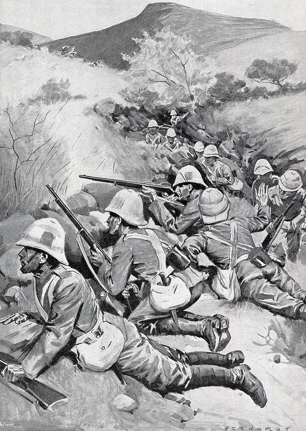 Queen's West Surrey Regiment on Monte Cristo: Battle of Pieters, fought from 14th February 1900 in the Great Boer War: picture by Oscar Eckhardt