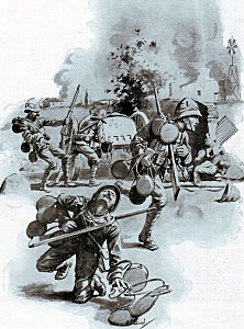 Unsuccessful attempts to get water to the British soldiers in the firing line at the Battle of Modder River on 28th November 1899 in the Boer War