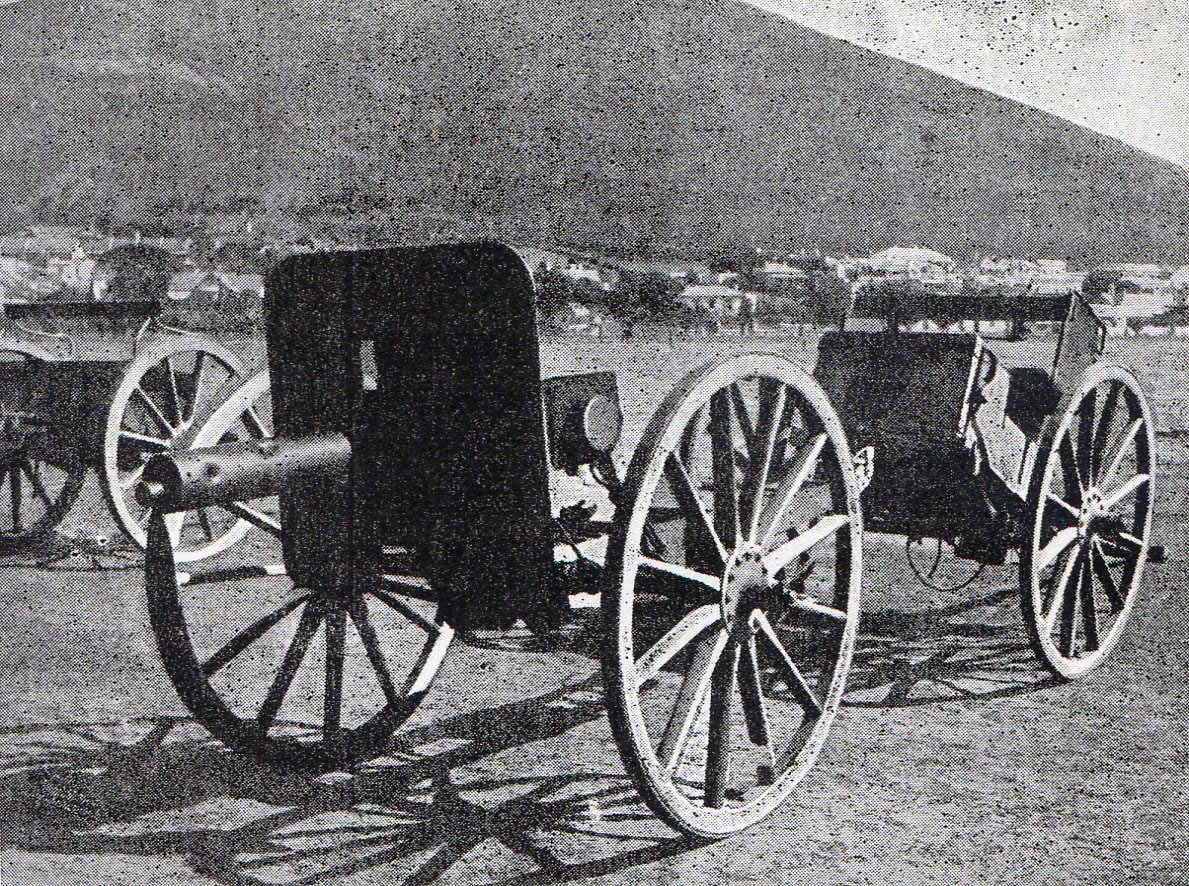 Boer maxim guns captured at the Battle of Paardeberg on 27th February 1900 in the Great Boer War