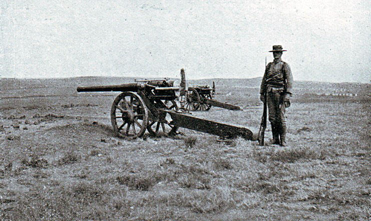 Royal Navy long 12 pounder field gun, two of which took part in the Battle of Graspan on 25th November 1899 in the Great Boer War