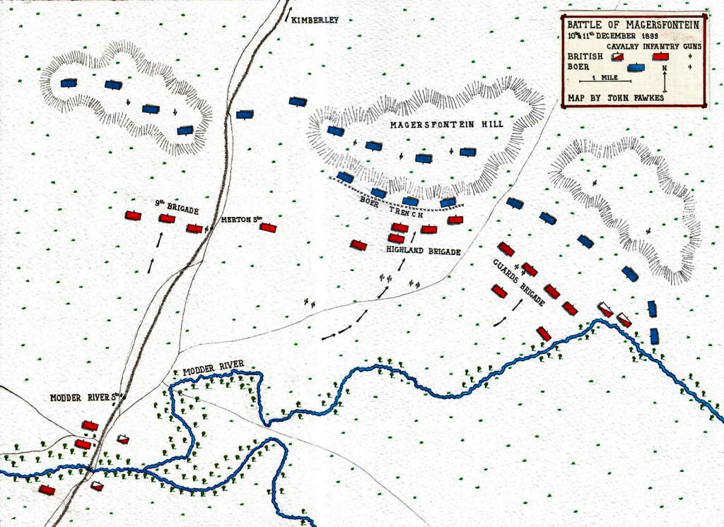 Map of the Battle of Magersfontein 10th - 11th December 1899 in the Boer War by John Fawkes