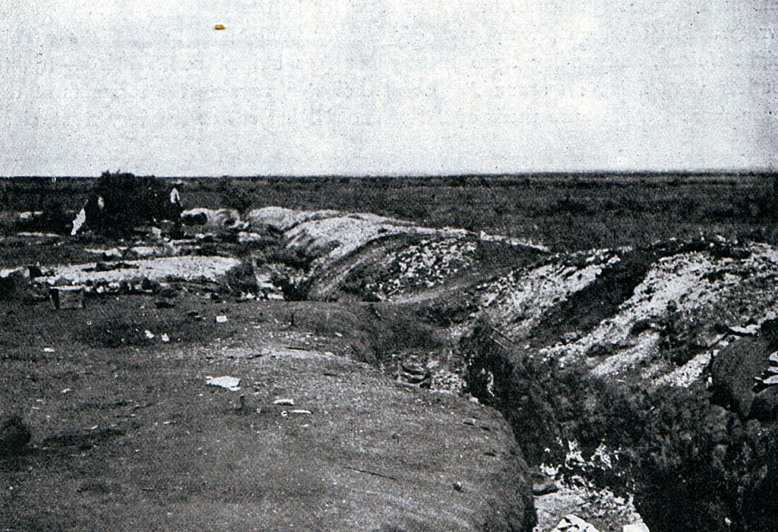Boer trench in front of the hill line at the Battle of Magersfontein on 11th December 1899 in the Boer War