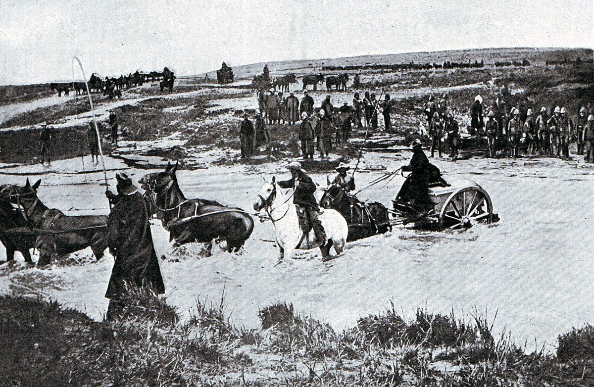 British mule drawn ammunition cart crossing a drift: Battle of Spion Kop on 24th January 1900 in the Boer War