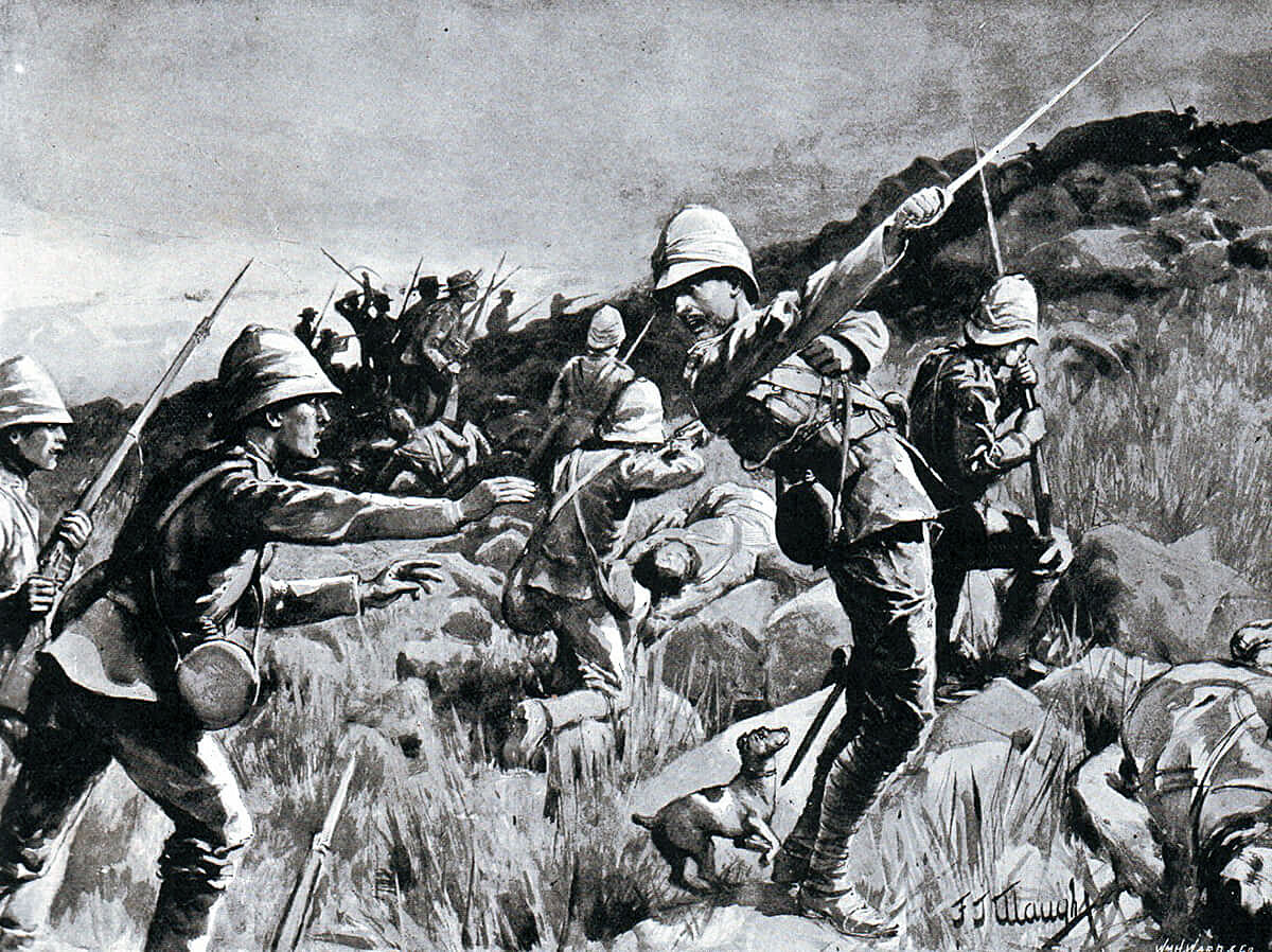 Death of Major Plumbe of the Royal Marines Light Infantry at the Battle of Graspan on 25th November 1899 in the Great Boer War. His Jack Russell 'Dickie' is behind him: picture by F.J. Waugh