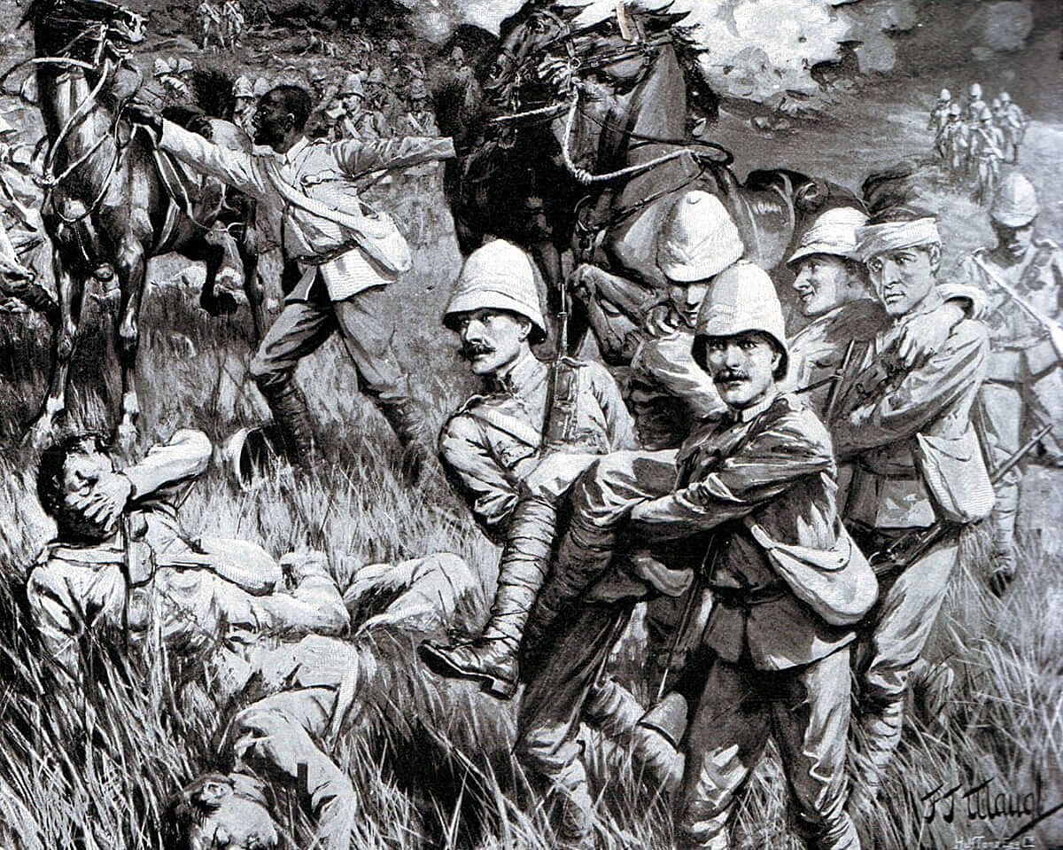 Wounded Lieutenant Stephens of 2nd Royal Irish Rifles carried by four privates back to Molteno after the Battle of Stormberg on 10th December 1899 in the Boer War: picture by F.J. Waugh