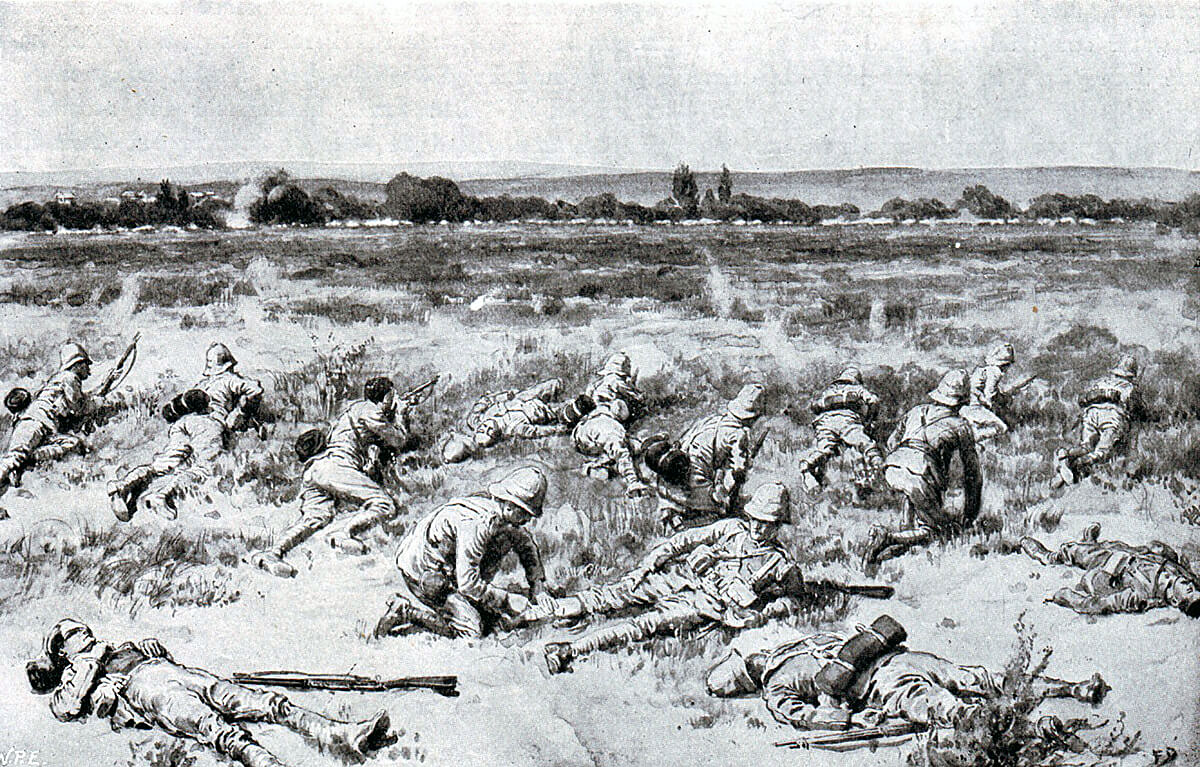 Foot Guards at the Battle of Modder River on 28th November 1899 in the Boer War: picture by Frank Dadd