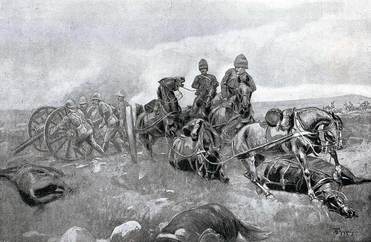 62nd Battery Royal Field Artillery arriving on the battlefield after a thirty mile march and unlimbering 900 yards from the Boer firing line at the Battle of Modder River on 28th November 1899 in the Boer War