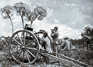 Cameronians maxim gun on Zwart Kop during the Battle of Spion Kop on 24th January 1900 in the Boer War