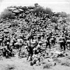 Contemporary photograph of the British attack at the Battle of Graspan on 25th November 1899 in the Great Boer War