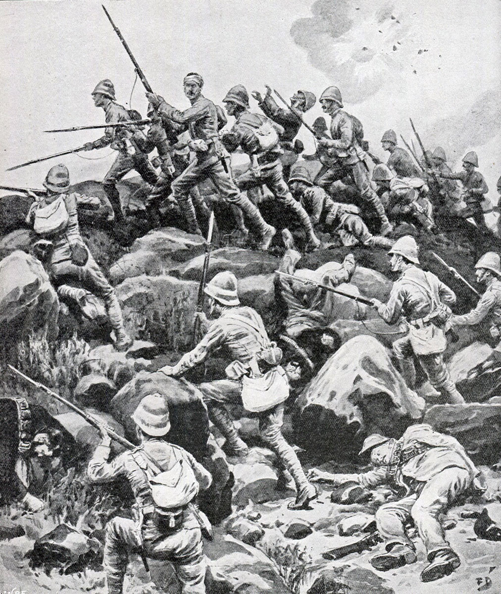 King's Royal Lancaster Regiment storming Pieters Hill: Battle of Pieters, fought from 14th to 28th February 1900 in the Great Boer War: picture by Frank Dadd