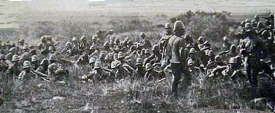 st Gordon Highlanders awaiting orders on the morning of 11th December 1899 at the Battle of Magersfontein in the Boer War
