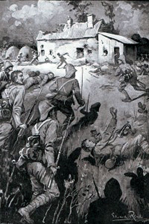 9th Brigade storming a farmhouse held by the Boers on the left flank during the Battle of Modder River on 28th November 1899 in the Boer War; picture by Edward Read