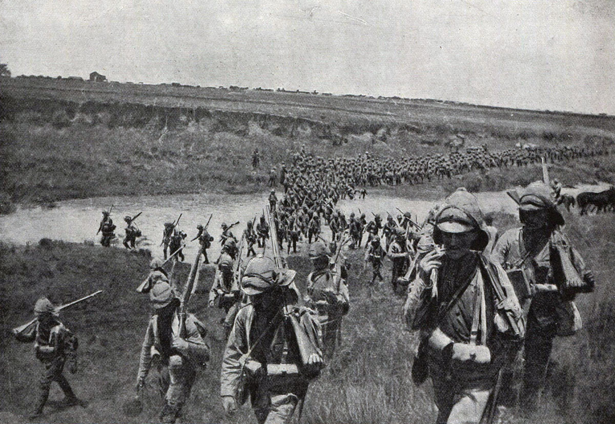 Royal Lancasters crossing a drift at the Battle of Spion Kop on 24th January 1900 in the Boer War