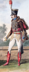 Officer of the French 2nd Hussars: Battle of Villagarcia on 11th April 1812 in the Peninsular War: picture by Vernet