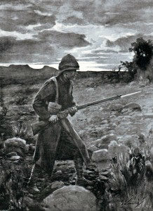 British soldier acting as a sentry in the Veldt: Battle of Graspan 25th November 1899 in the Great Boer War