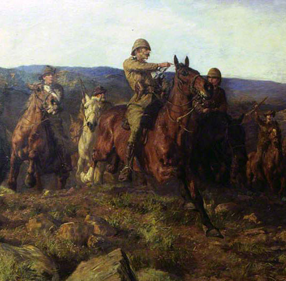 Lord Dundonald's cavalry pursuing the Boers at the end of the Battle of Pieters from 14th February 1900 in the Great Boer War: picture by Lucy Kemp-Welch
