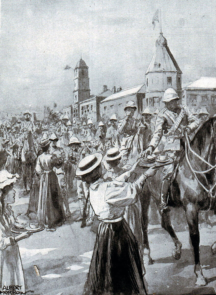 Populace of Molteno provide water and food to the returning British troops after the Battle of Stormberg on 9th/10th December 1899 in the Boer War: picture by Albert Morrow