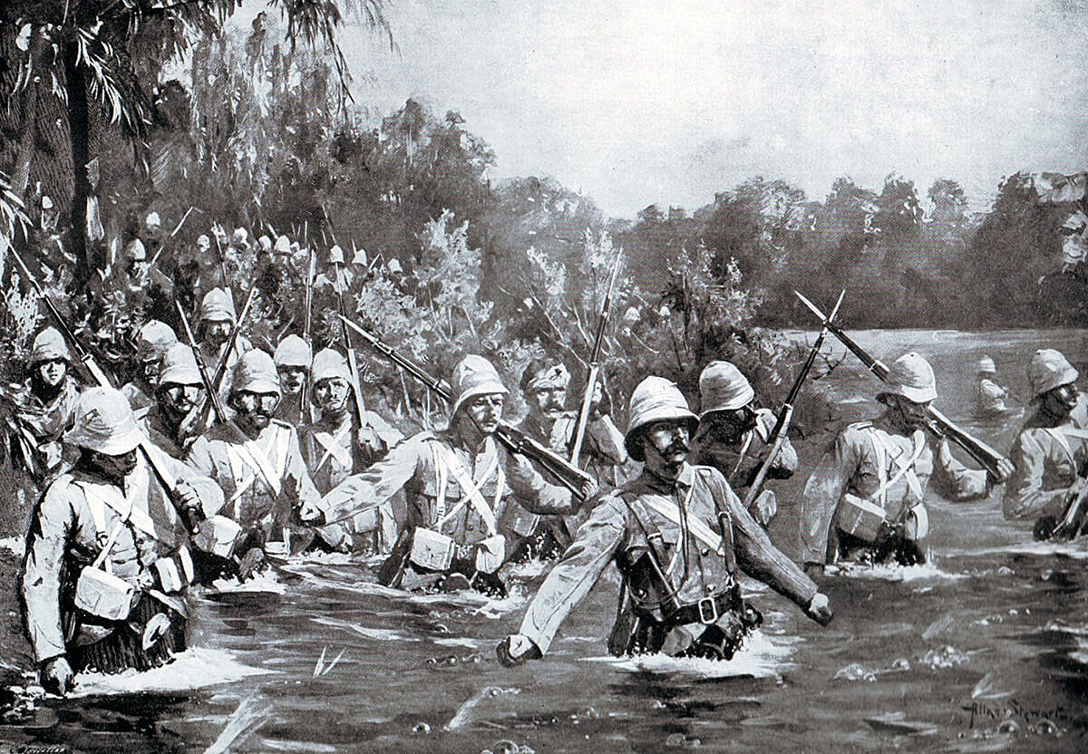 st Argyll and Sutherland Highlanders, the old 91st, crossing the Modder River at Rosmead during the battle on 28th November 1899 in the Boer War: picture by Allen Stewart