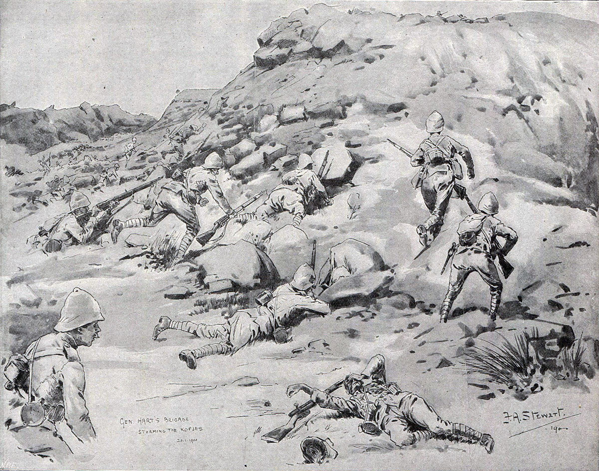 The Irish Brigade storming the Kops at the Battle of Spion Kop on 24th January 1900 in the Boer War: picture by F.A. Stewart