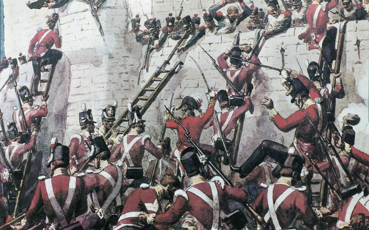 Escalade of the San Vincente Bastion by 2nd/30th Regiment at the Storming of Badajoz on 6th April 1812 in the Peninsular War: picture by Richard Simkin