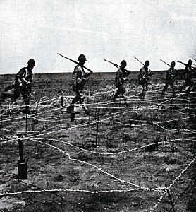 Barbed wire entanglement in front of the Boer trench at the Battle of Magersfontein on 11th December 1899 in the Boer War which added to the difficulties of the Highland Brigade in their attempted attack
