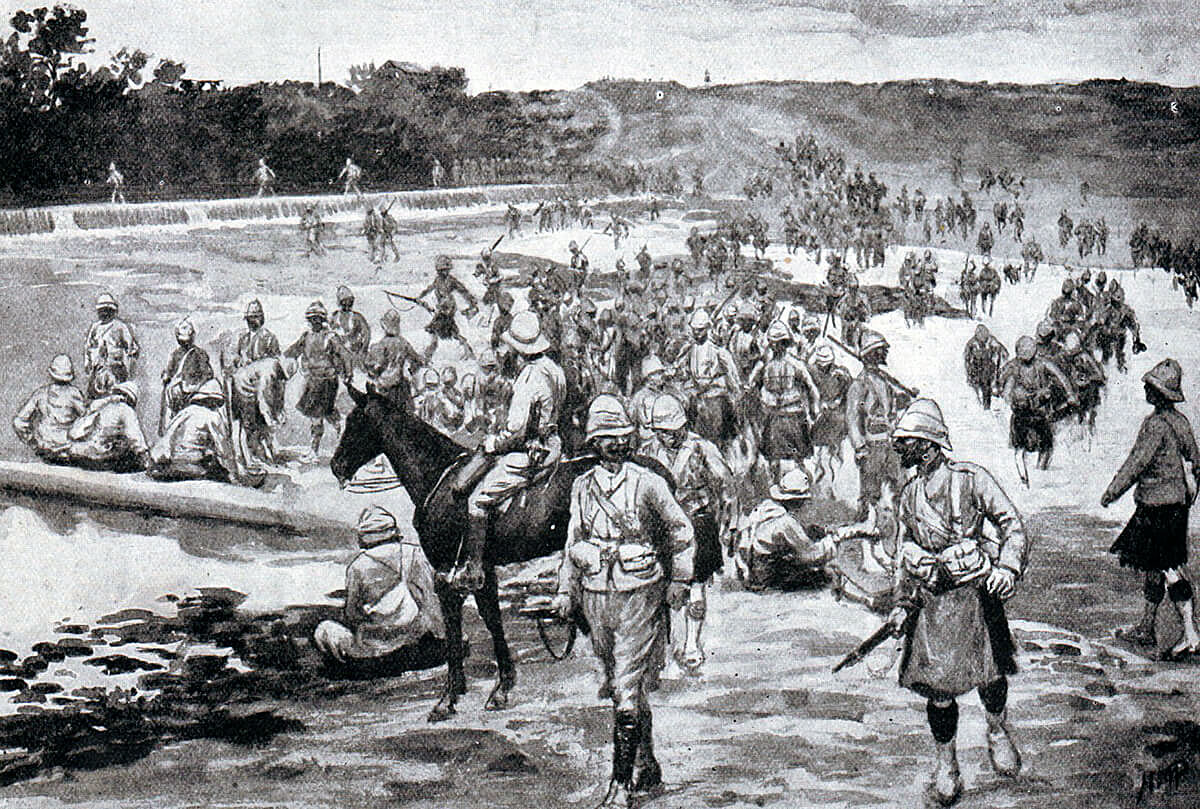 British troops of the 9th Brigade crossing the river by the Dam at the Battle of Modder River on 28th November 1899 in the Boer War