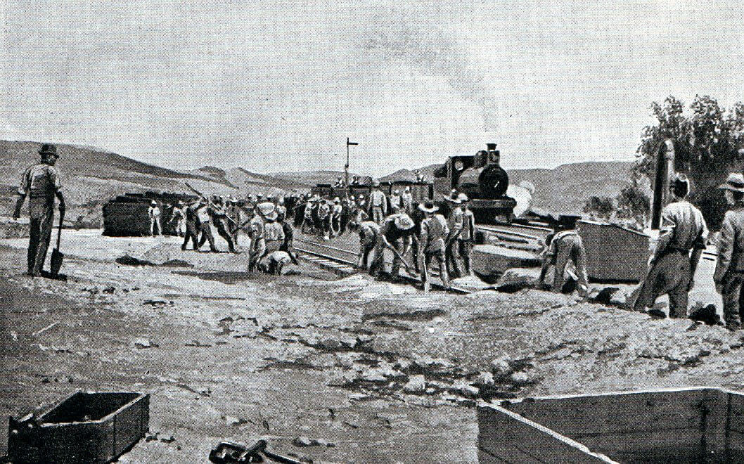 Royal Engineers re-instating the railway line north of Enslin Station after the Battle of Graspan on 25th November 1899 in the Great Boer War