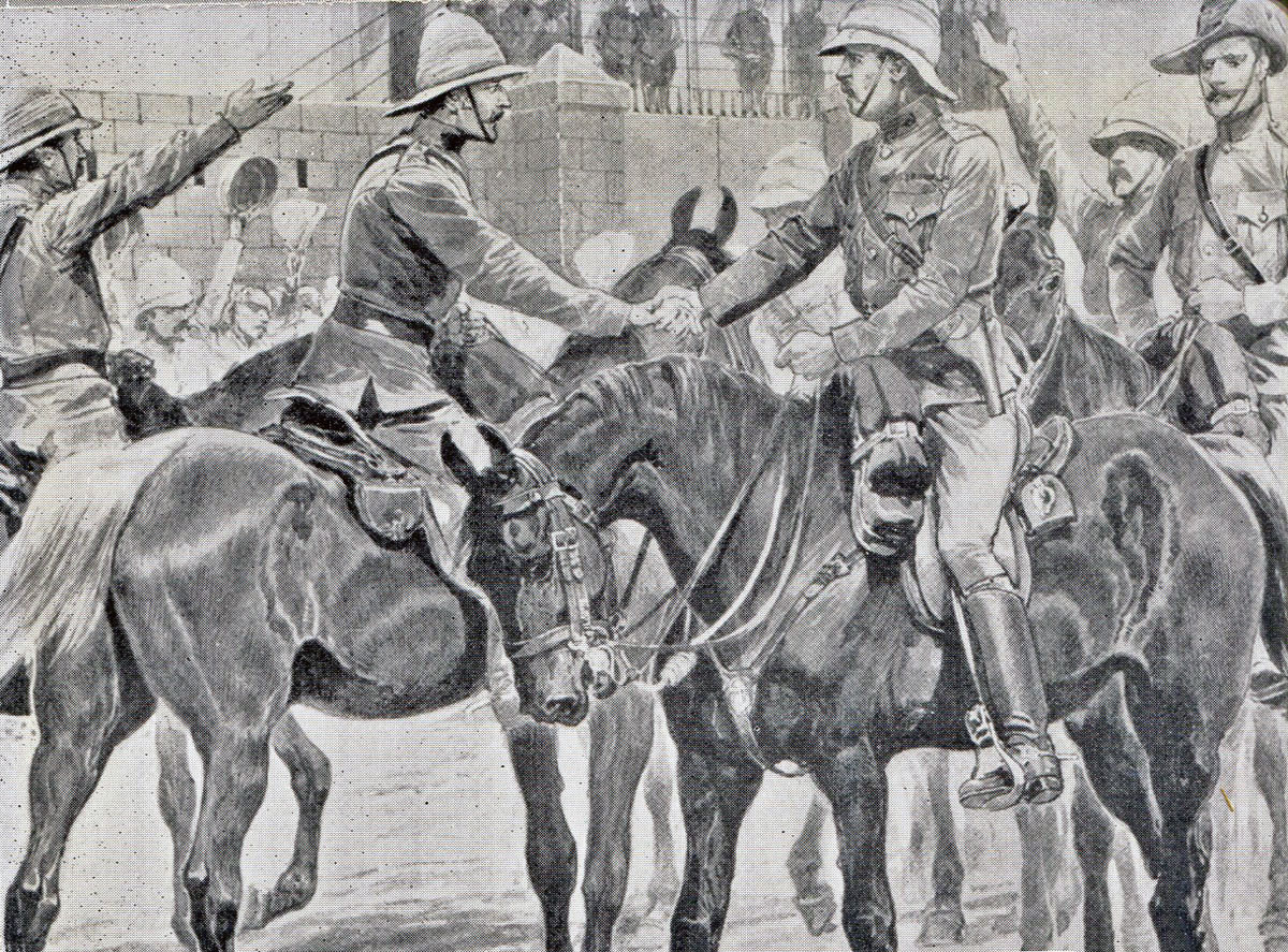 British Generals White and Buller meet in Ladysmith, after the relief of the town following the Battle of Pieters, fought from 14th to 28th February 1900 in the Great Boer War