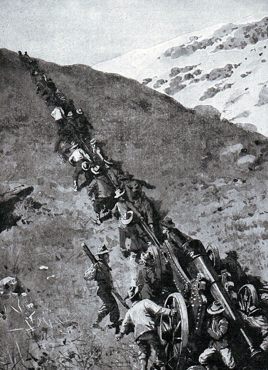 Boers hauling a heavy gun up a mountain at the Battle of Spion Kop on 24th January 1900 in the Boer War