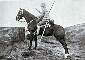 12th Lancer scout on patrol in South Africa: Battle of Magersfontein on 11th December 1899 in the Boer War