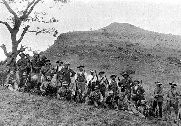 Boer riflemen at Spion Kop:Battle of Spion Kop on 24th January 1900 in the Boer War