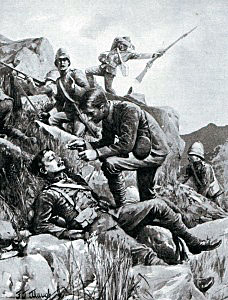 Chaplain Hill administering last rites to wounded soldiers of the 9th Brigade during the Battle of Belmont on 23rd November 1899 in the Great Boer War: picture by F.J. Waugh