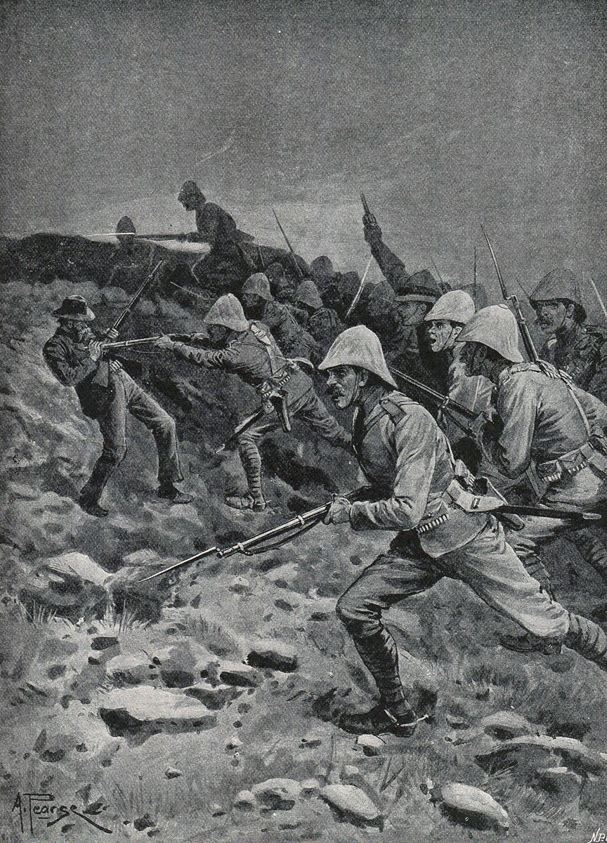 British troops rushing the top of Spion Kop during the Battle of Spion Kop on 24th January 1900 in the Boer War: picture by A. Pearse