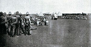 Divine service in the British camp before the Battle of Magersfontein on 11th December 1899 in the Boer War