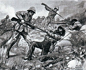 Private Dai St John 3rd Battalion Grenadier Guards bayoneting Boers at the Battle of Belmont on 23rd November 1899 in the Great Boer War. St John was shot dead soon afterwards. St John was a champion Welsh Boxer. Picture by Albert Morrow