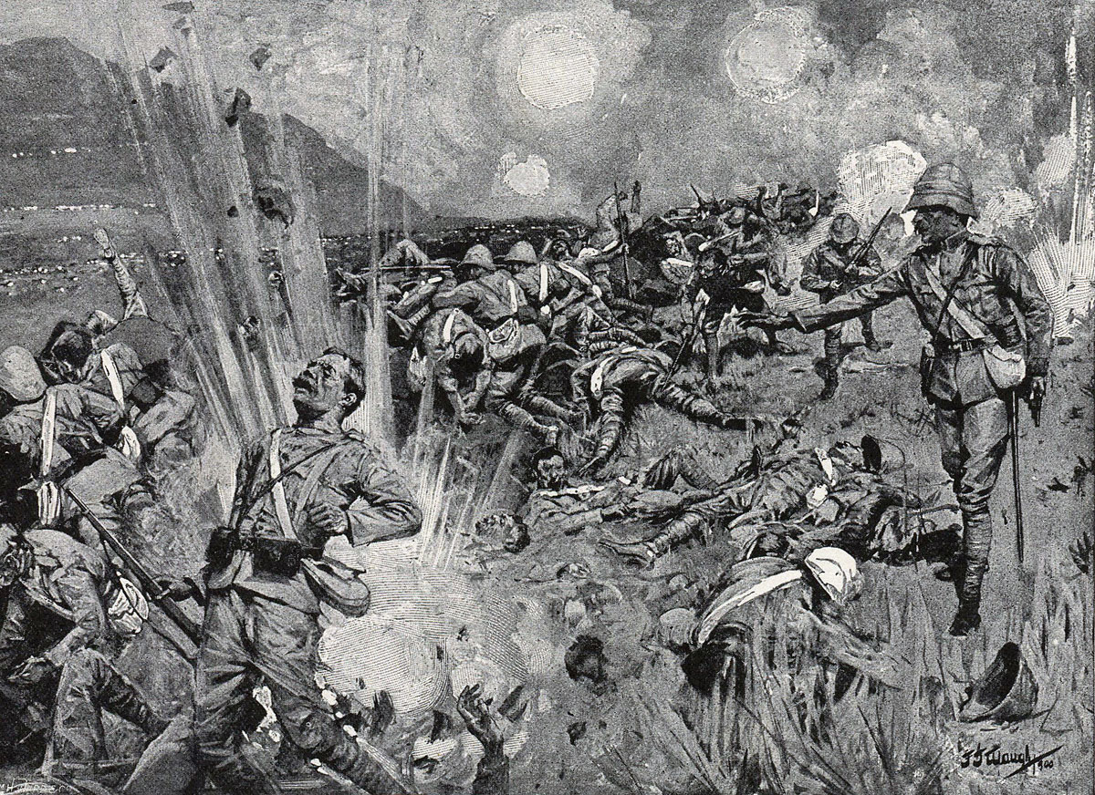 British troops under fire on Spion Kop in the Battle of Spion Kop on 24th January 1900 in the Boer War: picture by F.J. Waugh