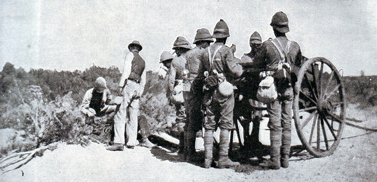 British troops collecting casualties from the battlefield after the Battle of Modder River on 28th November 1899 in the Boer War