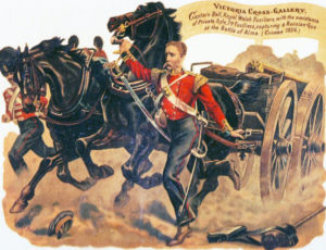 Captain Bell and Private Syle winning VCs at the Battle of the Alma on 20th September 1854 during the Crimean War: picture by Harry Payne
