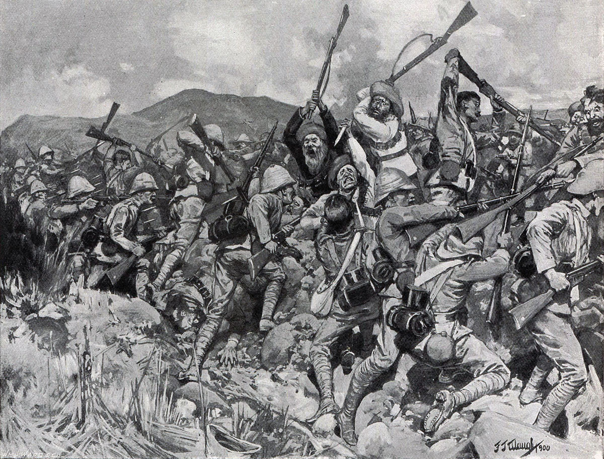 British troops repelling a Boer Assault at the top of Spion Kop in the Battle of Spion Kop on 24th January 1900 in the Boer War: picture by F.J. Waugh