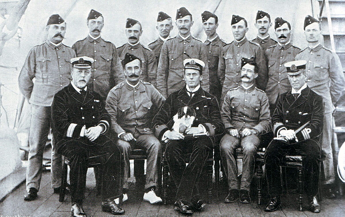 Officers of 2nd King Own Yorkshire Light Infantry on HMS Powerful en route from Mauritius to South Africa in 1899 in the Great Boer War. Captain C.A.L. Yate is fourth from the left in the back row standing